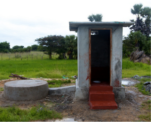 A completed toilet (built by OfERR staff) in Ithikandal